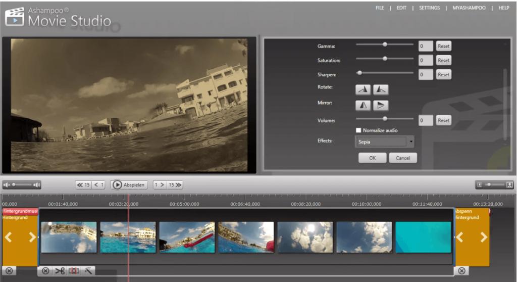 Ashampoo Movie Studio pro. Редактор позволяет перекодировать контент под параметры IPhone