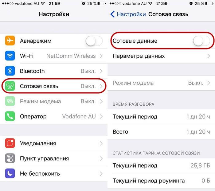 Процедура отключения интернета на айфон